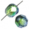 Fire polished 6mm Crystal/green-amethyst Two-tone Aurora Borealis